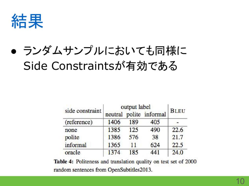 結果 ● ランダムサンプルにおいても同様に Side Constraintsが有効である 10