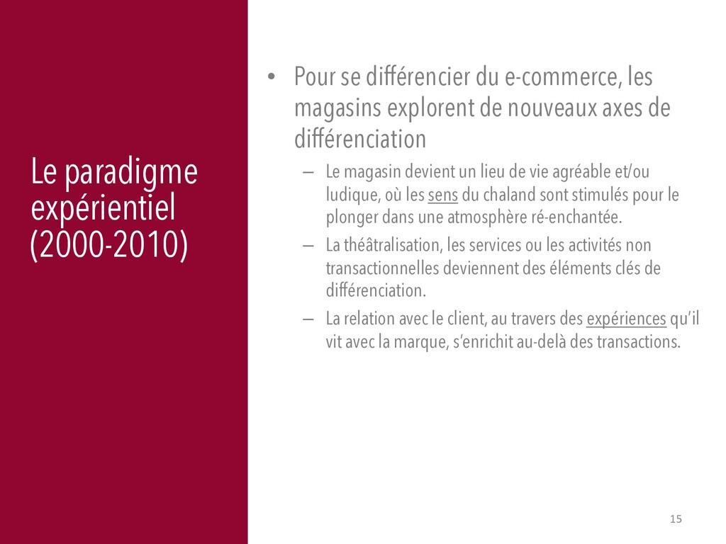 15 Le paradigme expérientiel (2000-2010) • Pour...