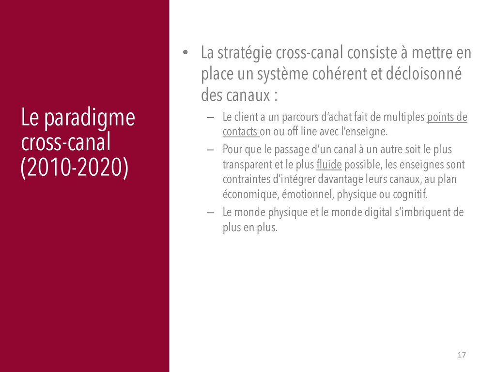 17 Le paradigme cross-canal (2010-2020) • La st...