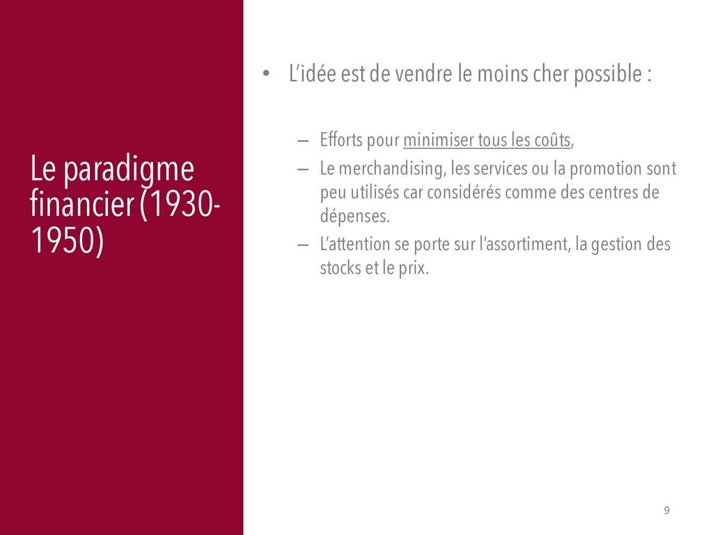 9 Le paradigme financier (1930- 1950) • L'idée ...