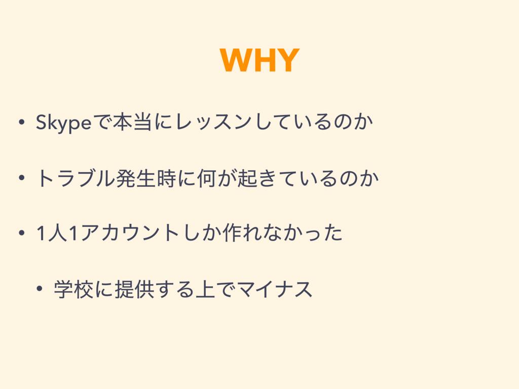 WHY • SkypeͰຊʹϨοεϯ͍ͯ͠Δͷ͔ • τϥϒϧൃੜʹԿ͕ى͖͍ͯΔͷ͔ •...