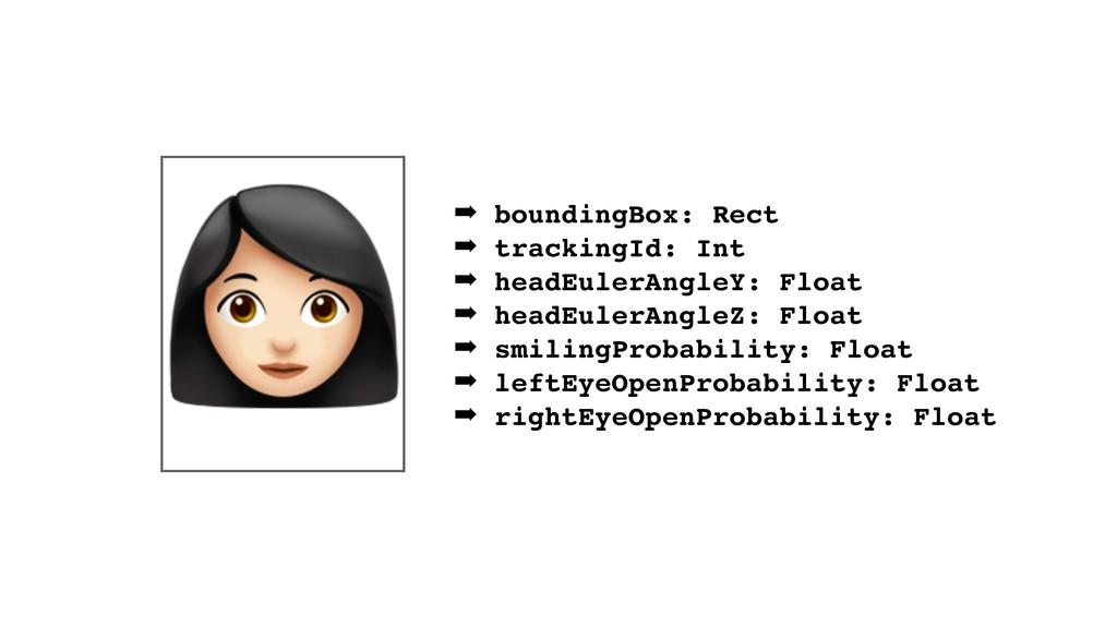 ➡ boundingBox: Rect ➡ trackingId: Int ➡ headEul...