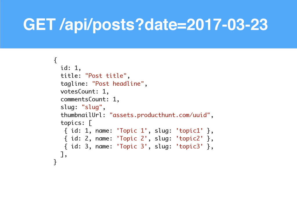 GET /api/posts?date=2017-03-23 { id: 1, title: ...