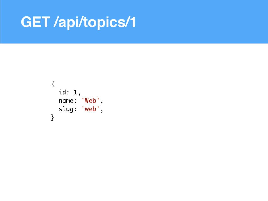 GET /api/topics/1 { id: 1, name: 'Web', slug: '...