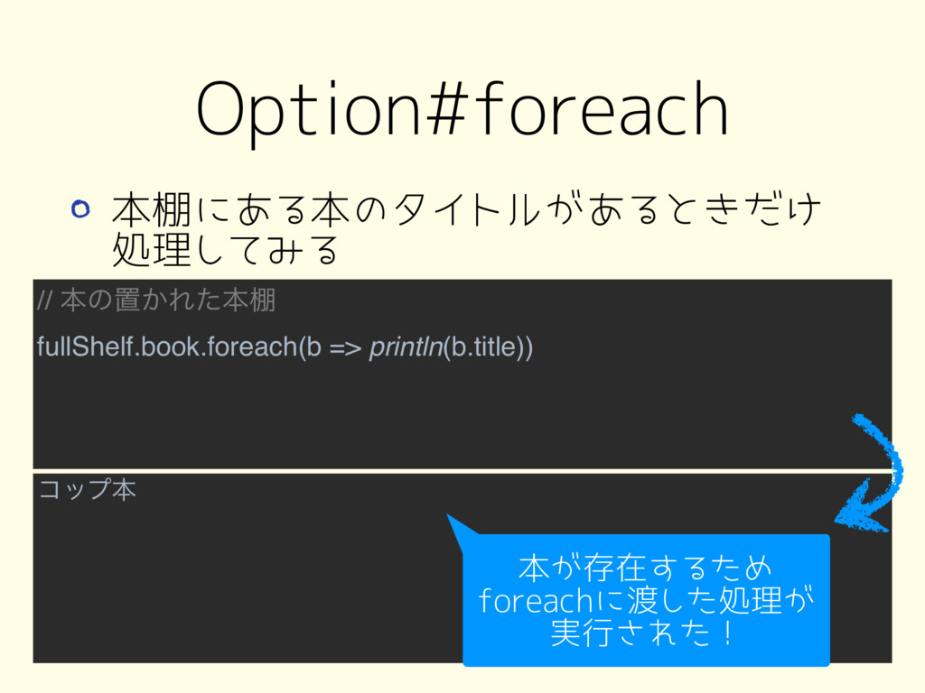 // ຊͷஔ͔Εͨຊ୨ fullShelf.book.foreach(b => println...
