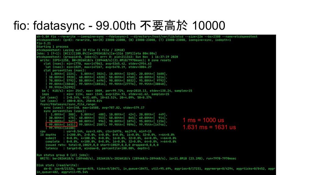 fio: fdatasync - 99.00th 不要高於 10000 1 ms = 1000...