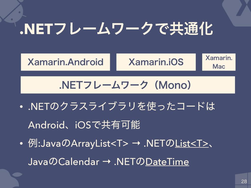 .NETϑϨʔϜϫʔΫͰڞ௨Խ • .NETͷΫϥεϥΠϒϥϦΛͬͨίʔυ Android...