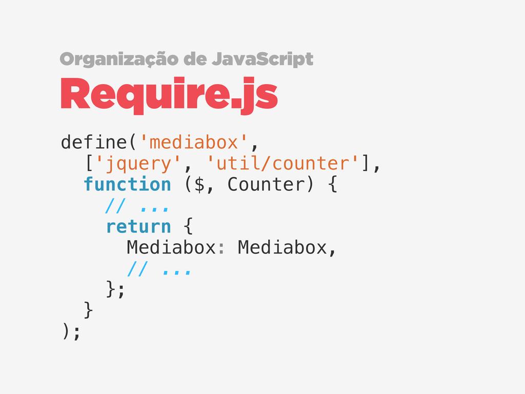 Require.js Organização de JavaScript define('me...