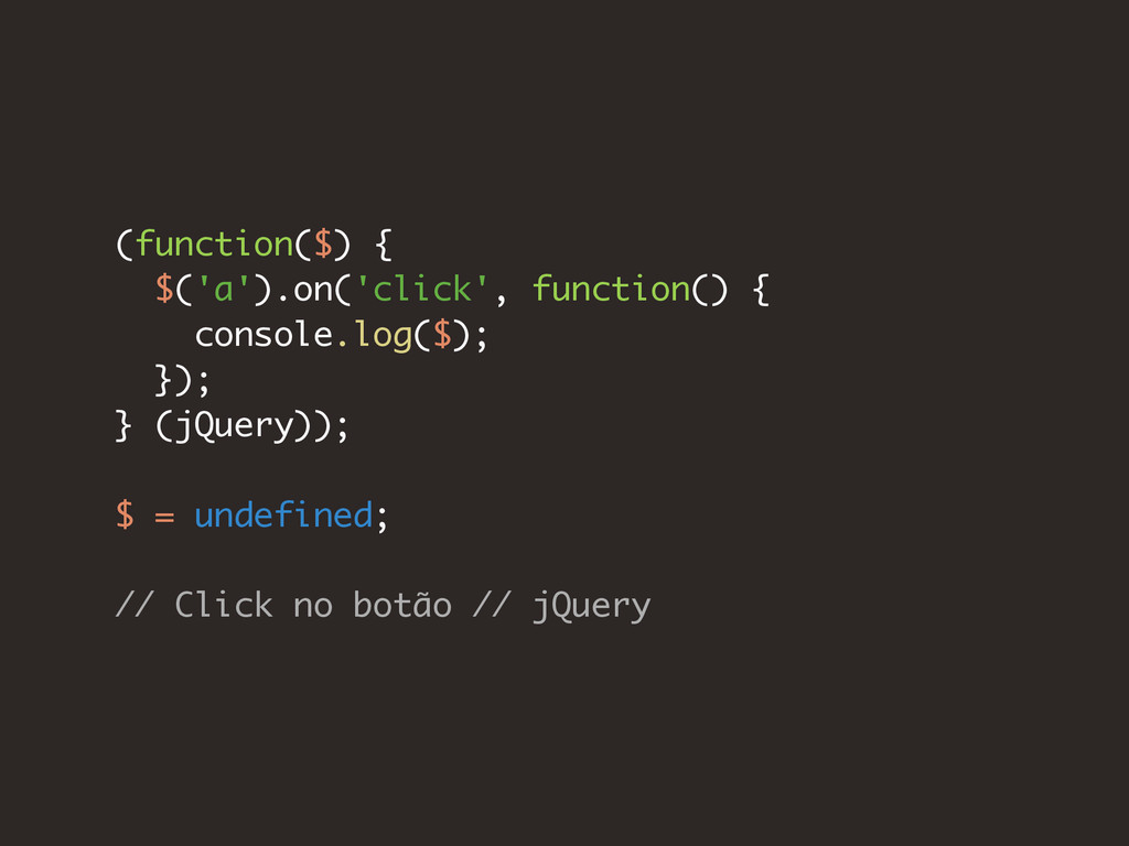 (function($) { $('a').on('click', function() { ...