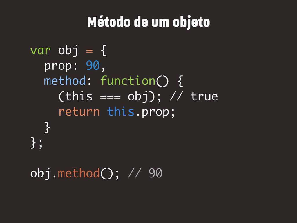 var obj = { prop: 90, method: function() { (thi...