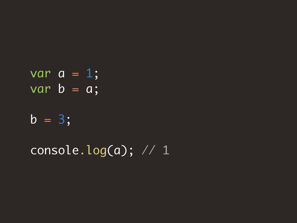 var a = 1; var b = a; b = 3; console.log(a); //...