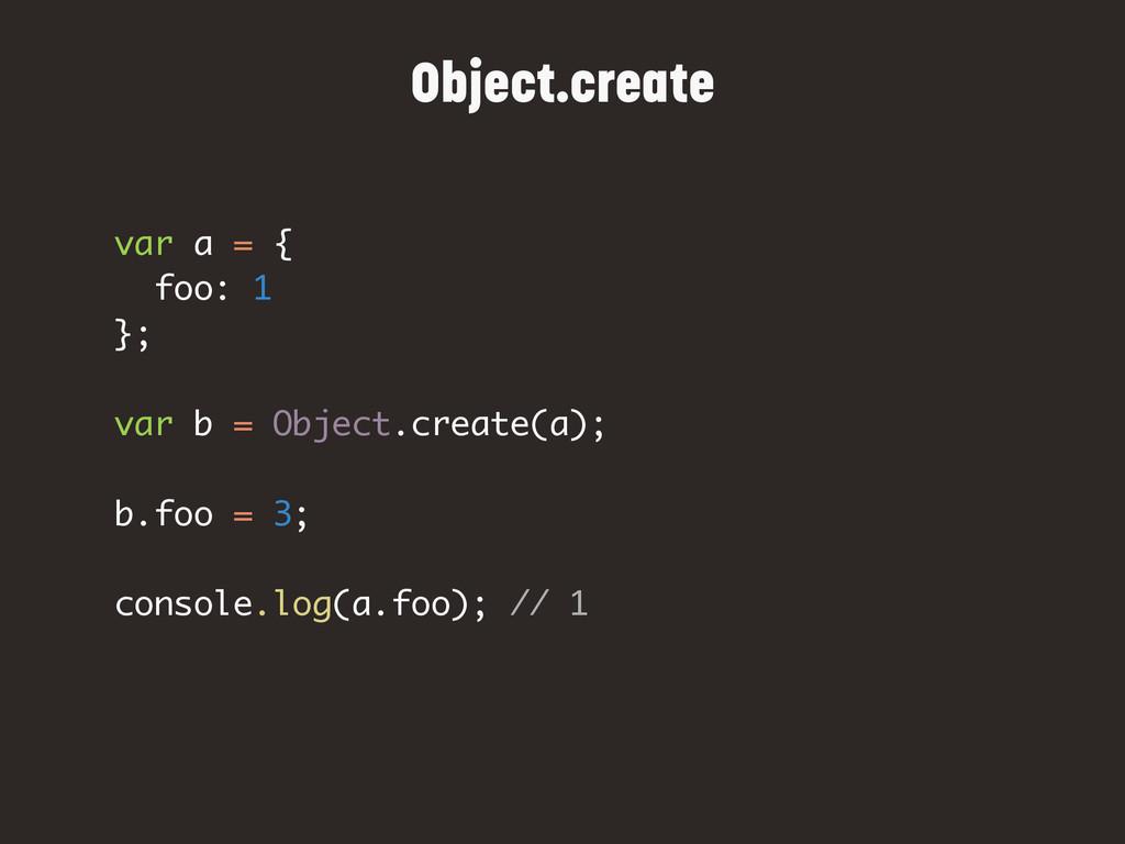 var a = { foo: 1 }; var b = Object.create(a); b...