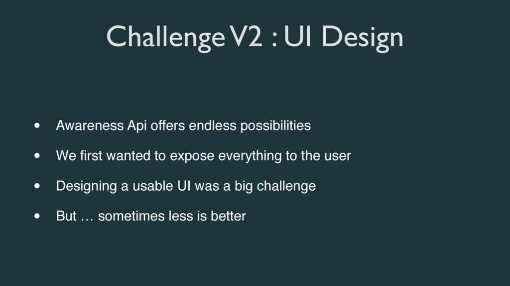 Challenge V2 : UI Design • Awareness Api offers...