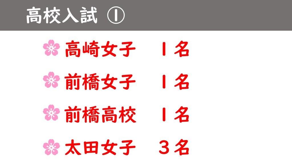 高校入試 ① 高崎女子 1名 前橋女子 1名 前橋高校 1名 太田女子 3名