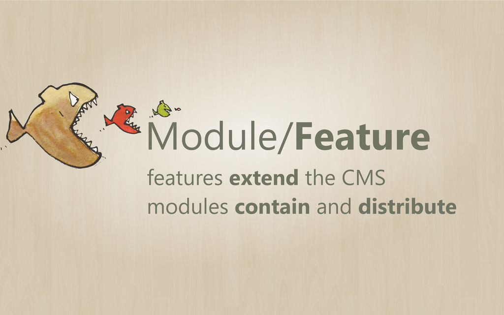 Module/Feature features extend the CMS modules ...