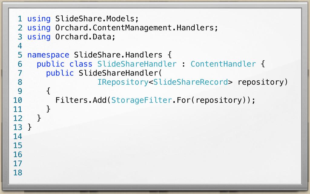 using SlideShare.Models; using Orchard.ContentM...