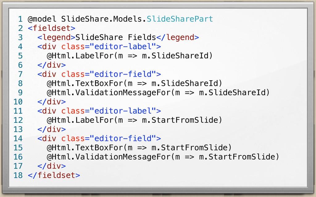 @model SlideShare.Models.SlideSharePart <fields...