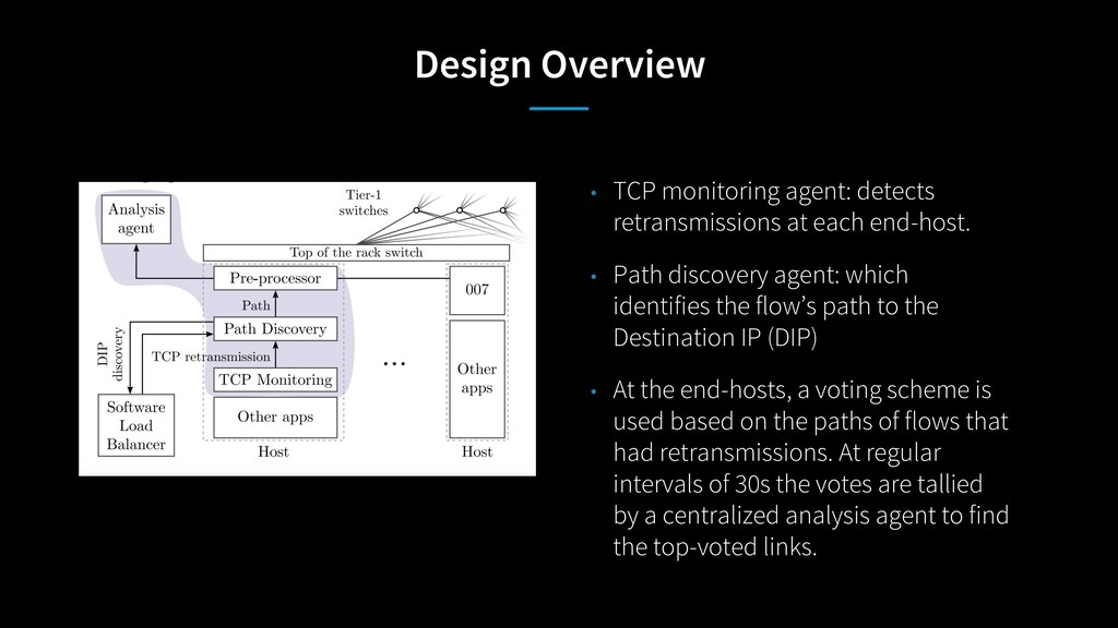 Design Overview • TCP monitoring agent: detects...