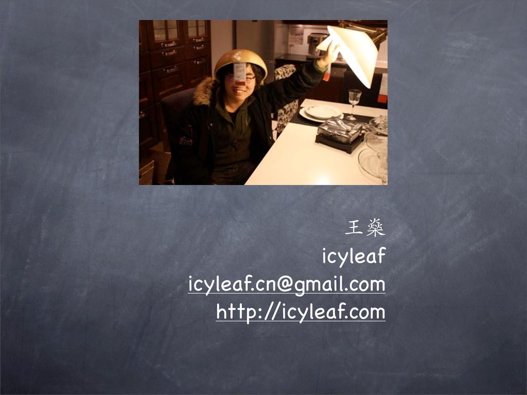 王燊 icyleaf icyleaf.cn@gmail.com http:/ /icyleaf...