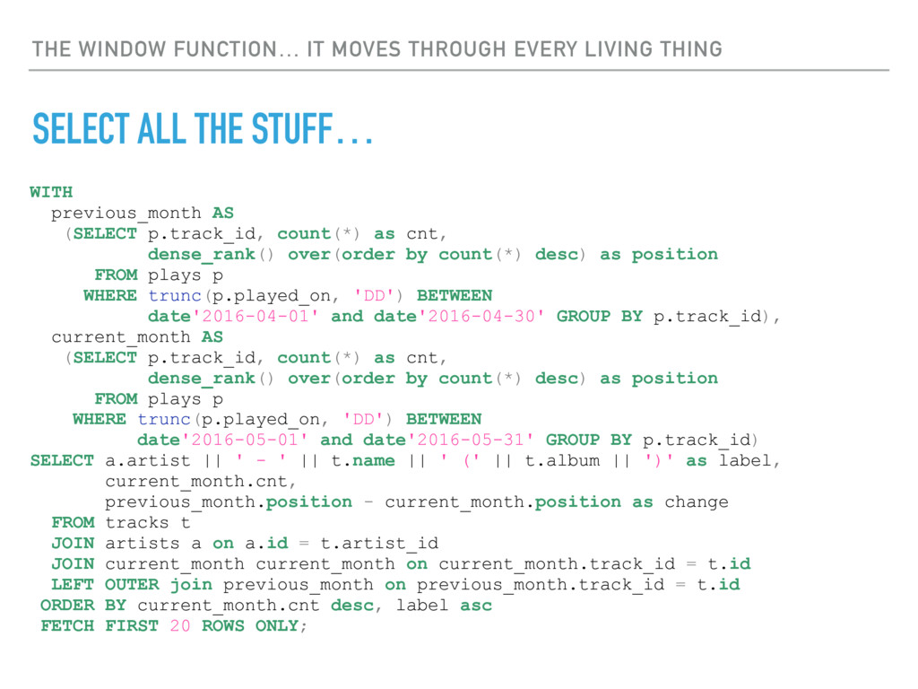 THE WINDOW FUNCTION… IT MOVES THROUGH EVERY LIV...