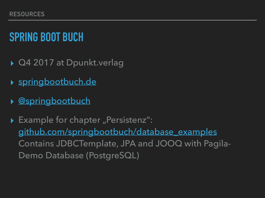 RESOURCES SPRING BOOT BUCH ▸ Q4 2017 at Dpunkt....