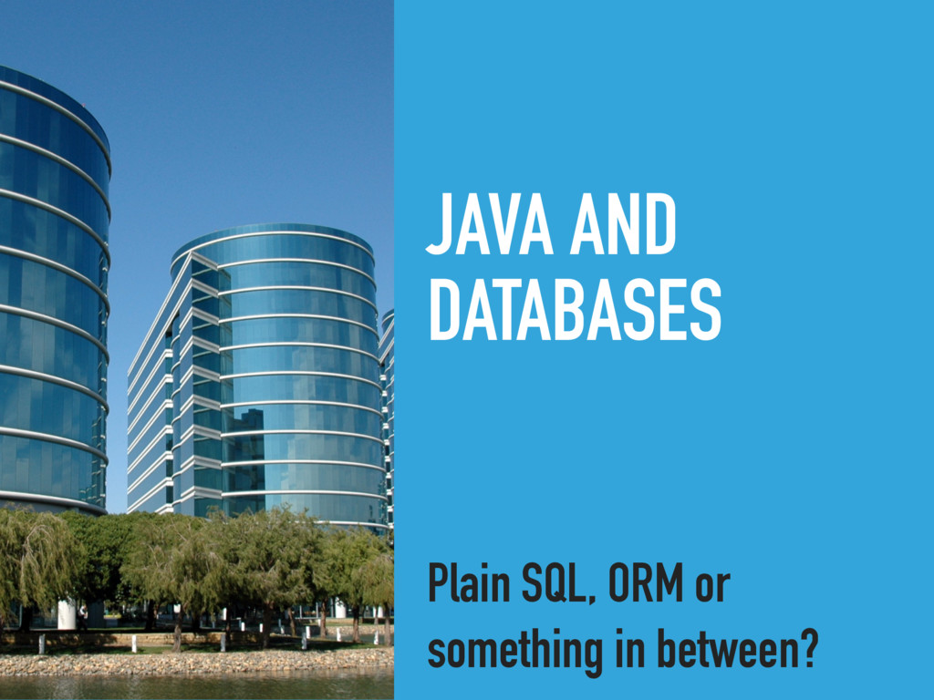 JAVA AND DATABASES Plain SQL, ORM or something ...