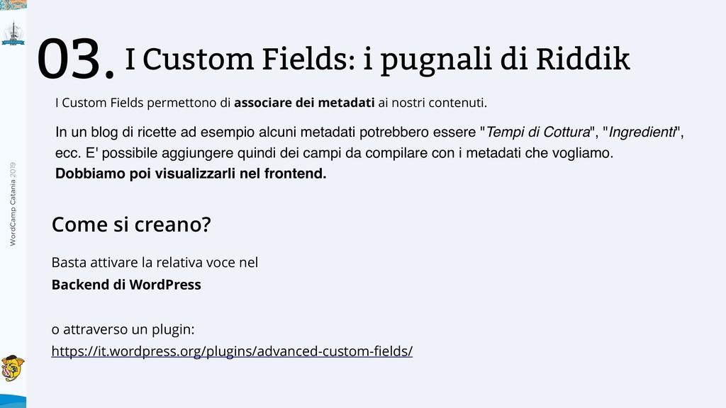 WordCamp Catania 2019 I Custom Fields: i pugnal...
