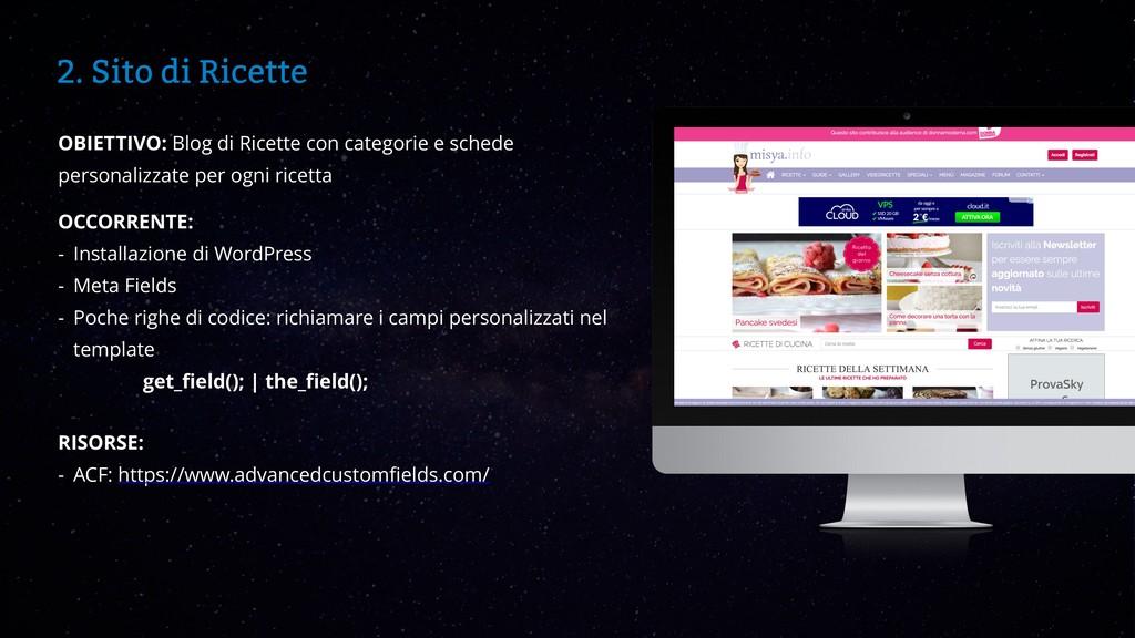 WordCamp Catania 2019 2. Sito di Ricette OBIETT...