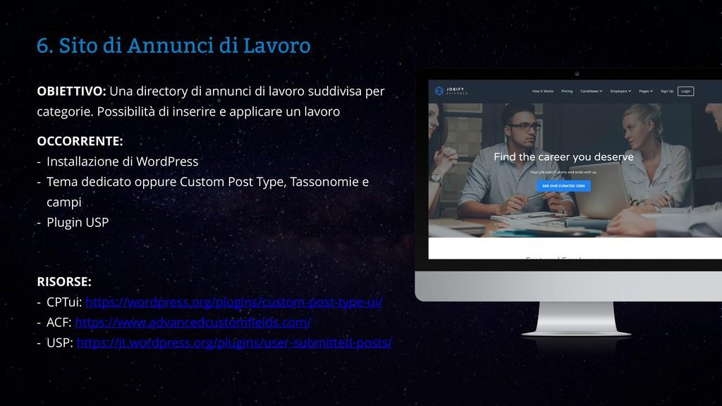 WordCamp Catania 2019 6. Sito di Annunci di Lav...