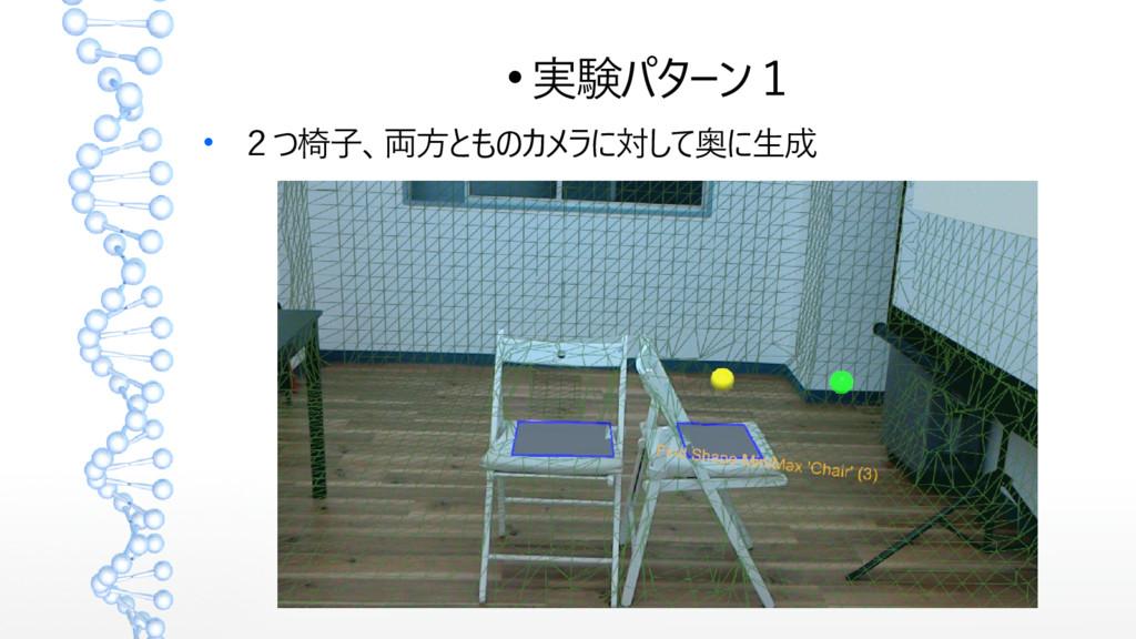  実験パターン1  2つ椅子、両方とものカメラに対して奥に生成