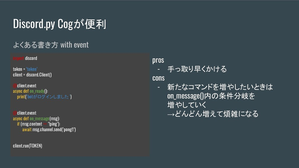 Discord.py Cogが便利 よくある書き方 with event import dis...