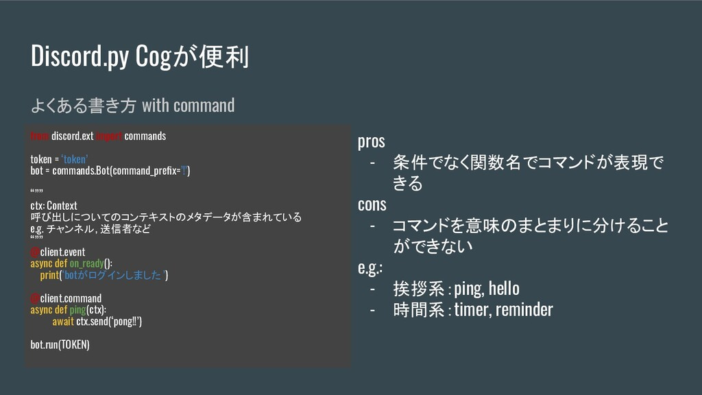 Discord.py Cogが便利 よくある書き方 with command from dis...