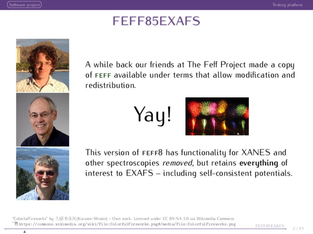 Software project Testing platform FEFF85EXAFS A...