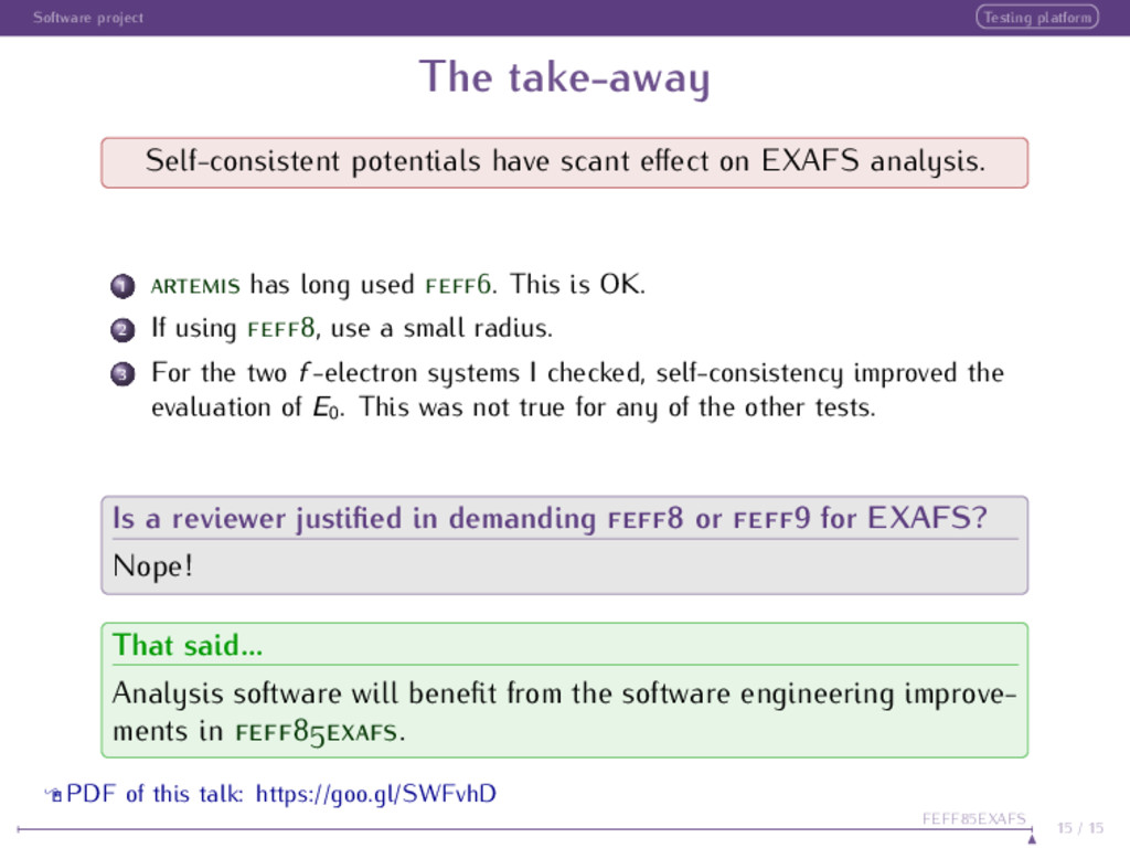 Software project Testing platform The take-away...