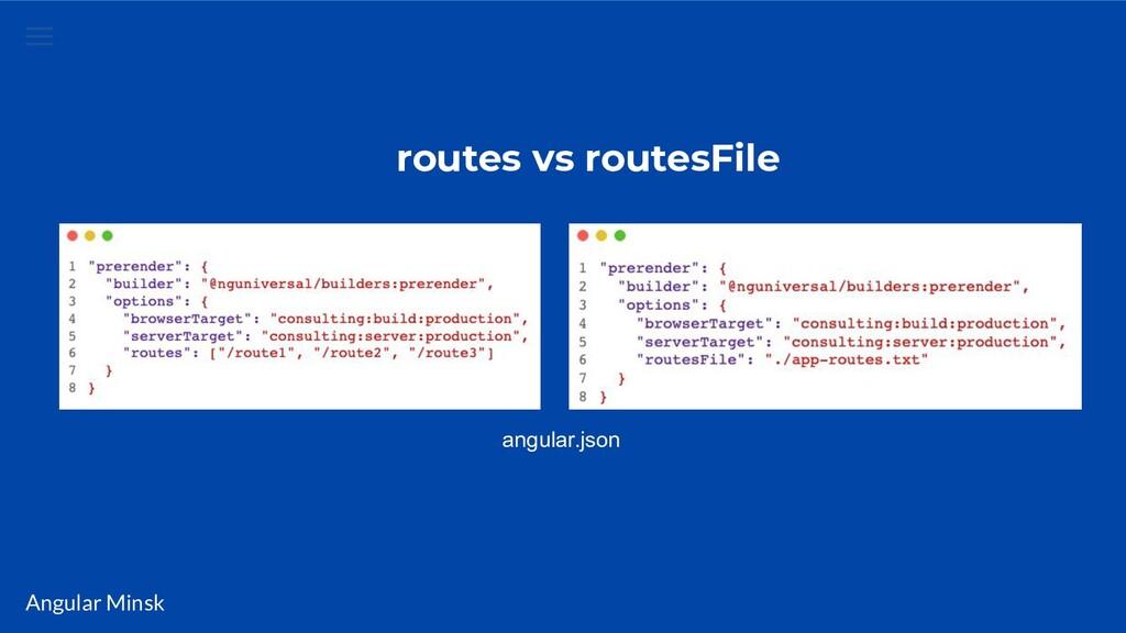 Angular Minsk routes vs routesFile angular.json