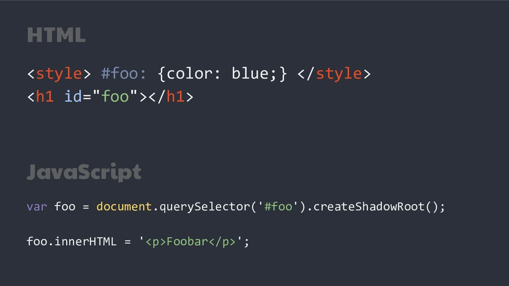 HTML <style> #foo: {color: blue;} </style> <h1 ...