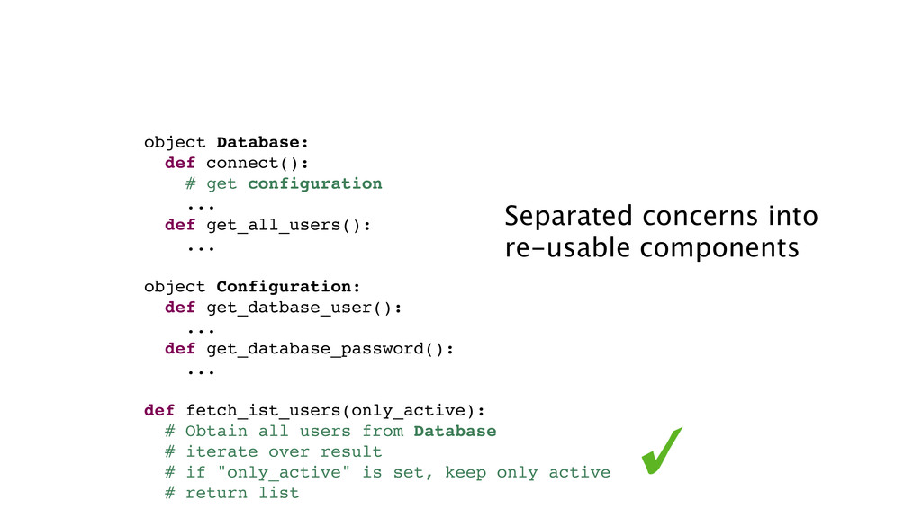 object Database: def connect(): # get configura...