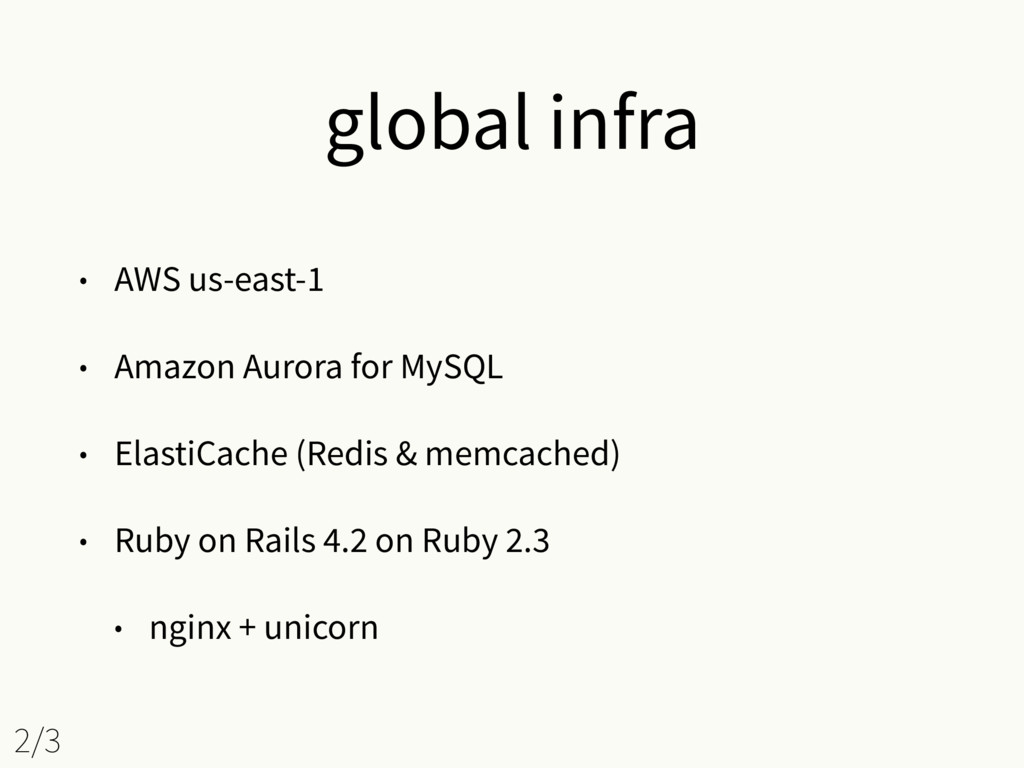 global infra • AWS us-east-1 • Amazon Aurora fo...