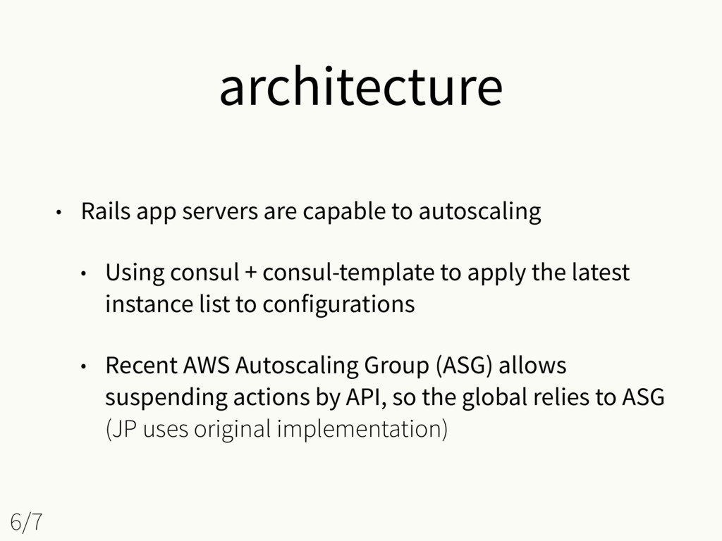 architecture • Rails app servers are capable to...