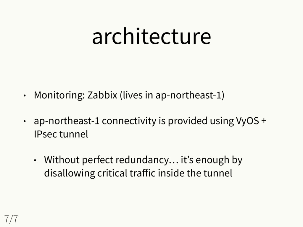 architecture • Monitoring: Zabbix (lives in ap-...