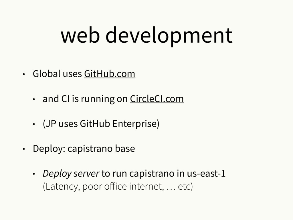 web development • Global uses GitHub.com • and ...