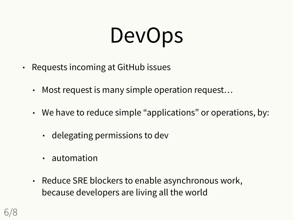 DevOps • Requests incoming at GitHub issues • M...