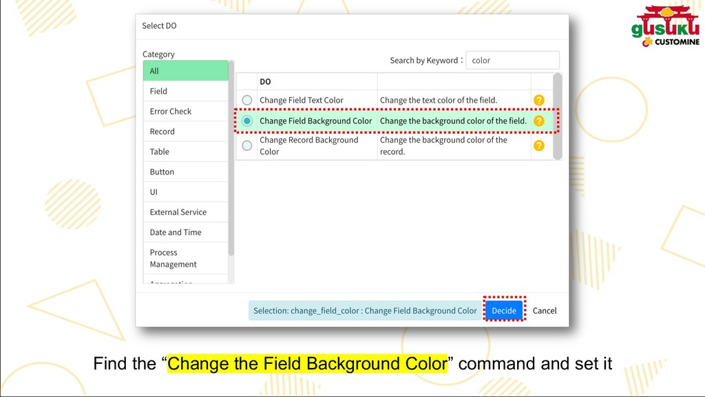 "Find the ""Change the Field Background Color"" co..."
