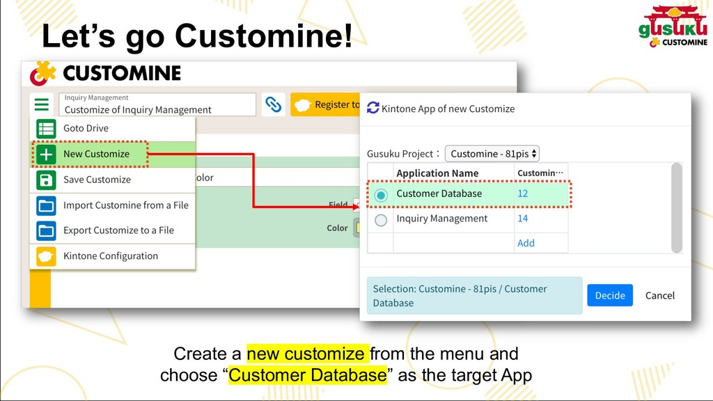 Create a new customize from the menu and choose...
