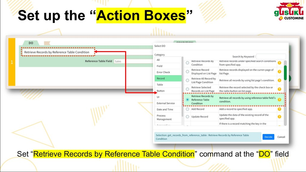 "Set up the ""Action Boxes"" Set ""Retrieve Records..."