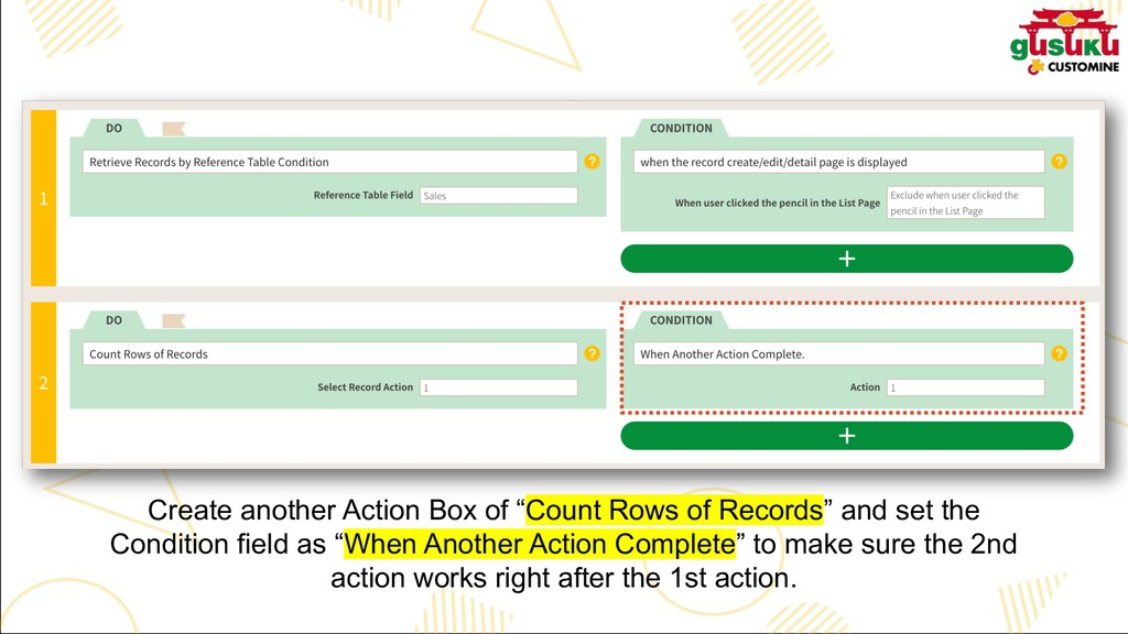 "Create another Action Box of ""Count Rows of Rec..."