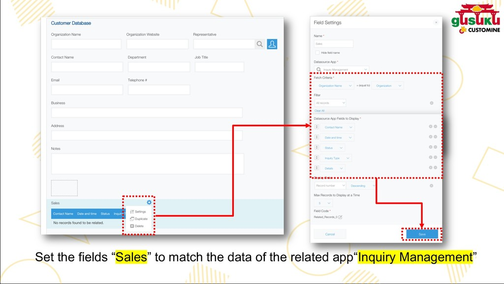 "Set the fields ""Sales"" to match the data of the..."