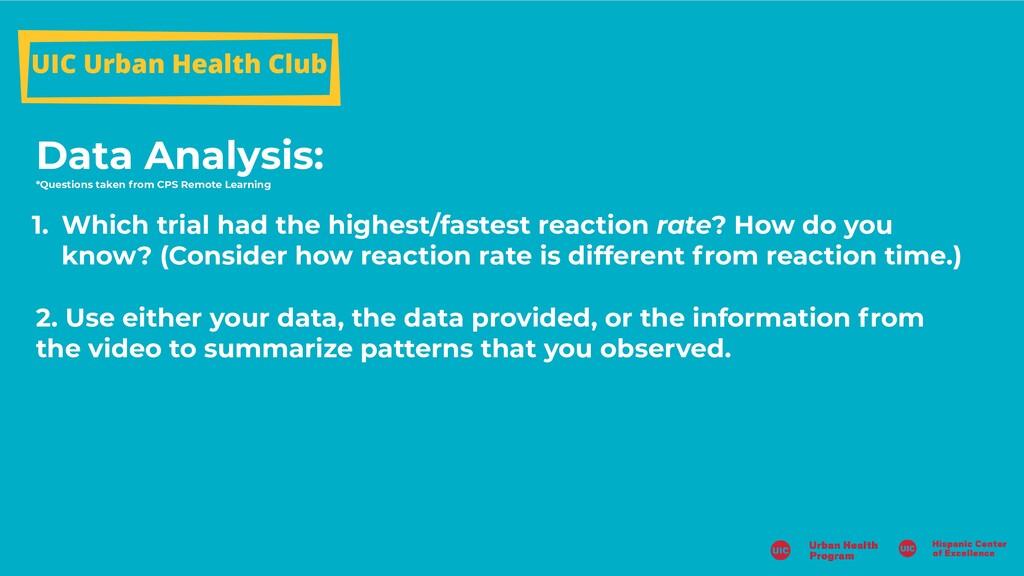 UIC Urban Health Club Data Analysis: *Questions...