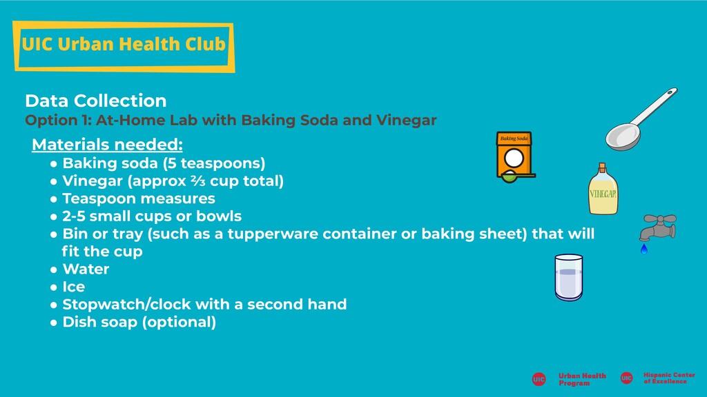 UIC Urban Health Club Data Collection Option 1:...