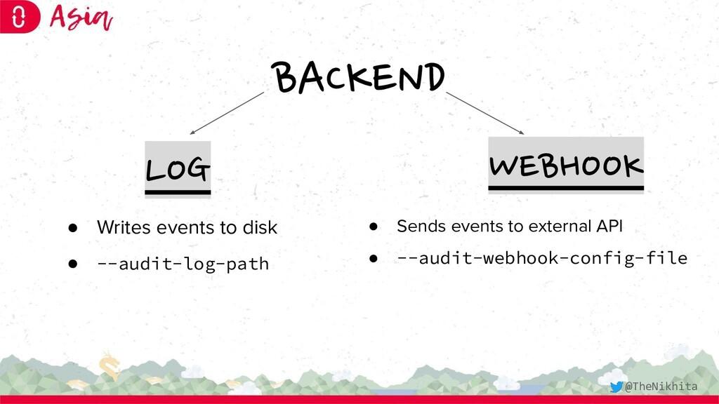 BACKEND LOG WEBHOOK ● Writes events to disk ● -...